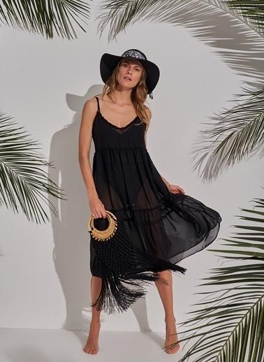 Morhipo Beach Şifon Askılı Elbise Siyah